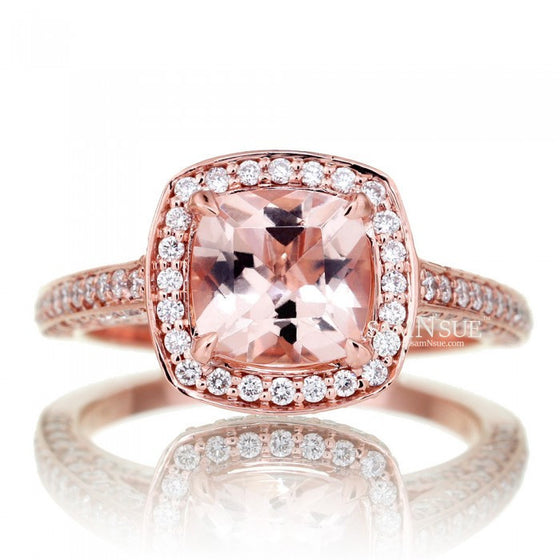 Cushion 7x7 Morganite Ring Diamond Halo Engagement Ring Three Sided