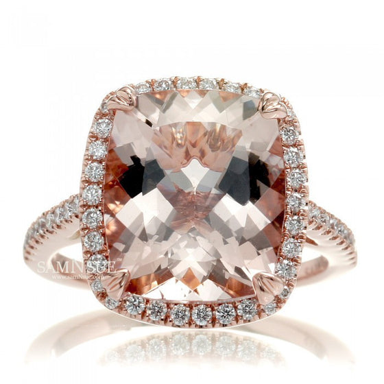 Cushion 12x10 Morganite Engagement Ring In Rose