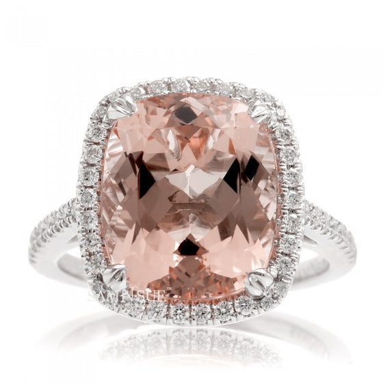 Cushion 12x10 morganite engagement ring diamond halo band