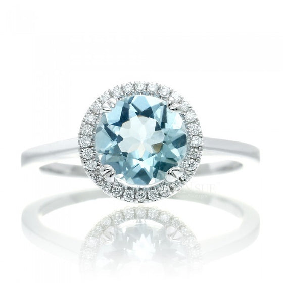 Aquamarine 8mm round halo engagement diamond ring in white gold plain shank