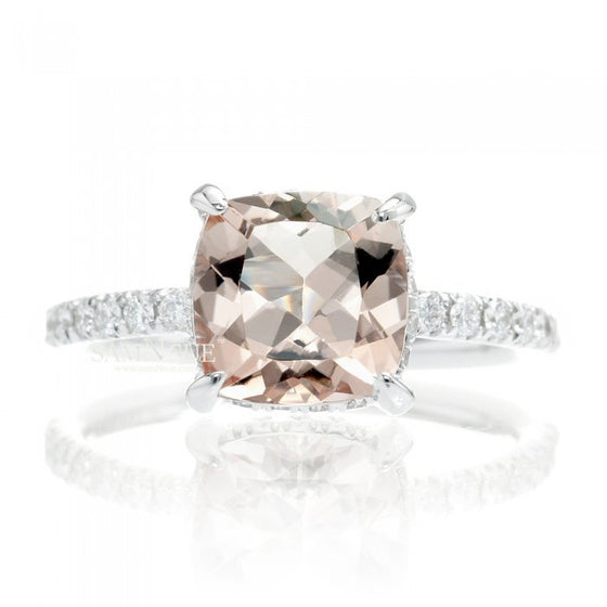 Classic Solitaire Engagement Ring Cushion Morganite Diamond