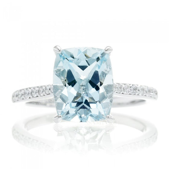 Aquamarine 10x8 solitaire cushion pavé halo diamond engagement ring