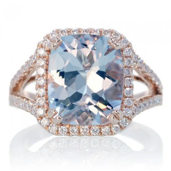 Aquamarine 11x9 cushion split band diamond engagement ring rose gold