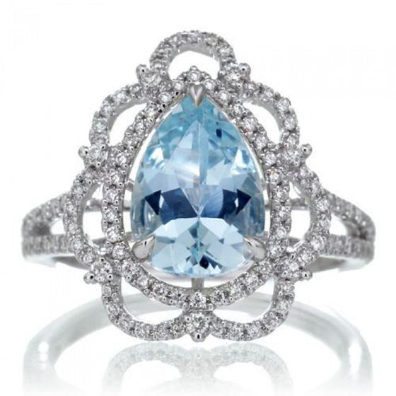 Aquamarine 10x7 pear Victorian style diamond halo split shank ring