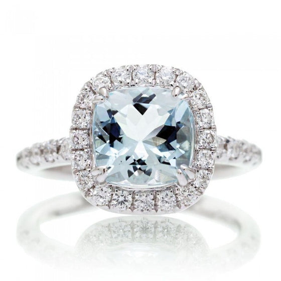 Aquamarine 7x7 cushion cut halo diamond engagement ring