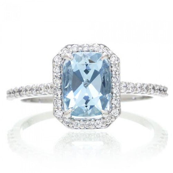 Aquamarine 8x6 cushion diamond halo engagement ring 14k white gold
