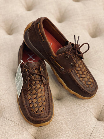 Women's Woven Tan Brown Driving Moc