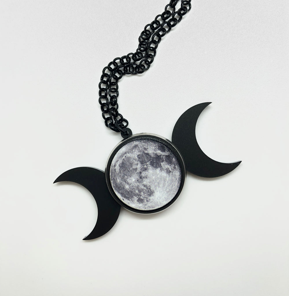 Triple Goddess Moon Necklace