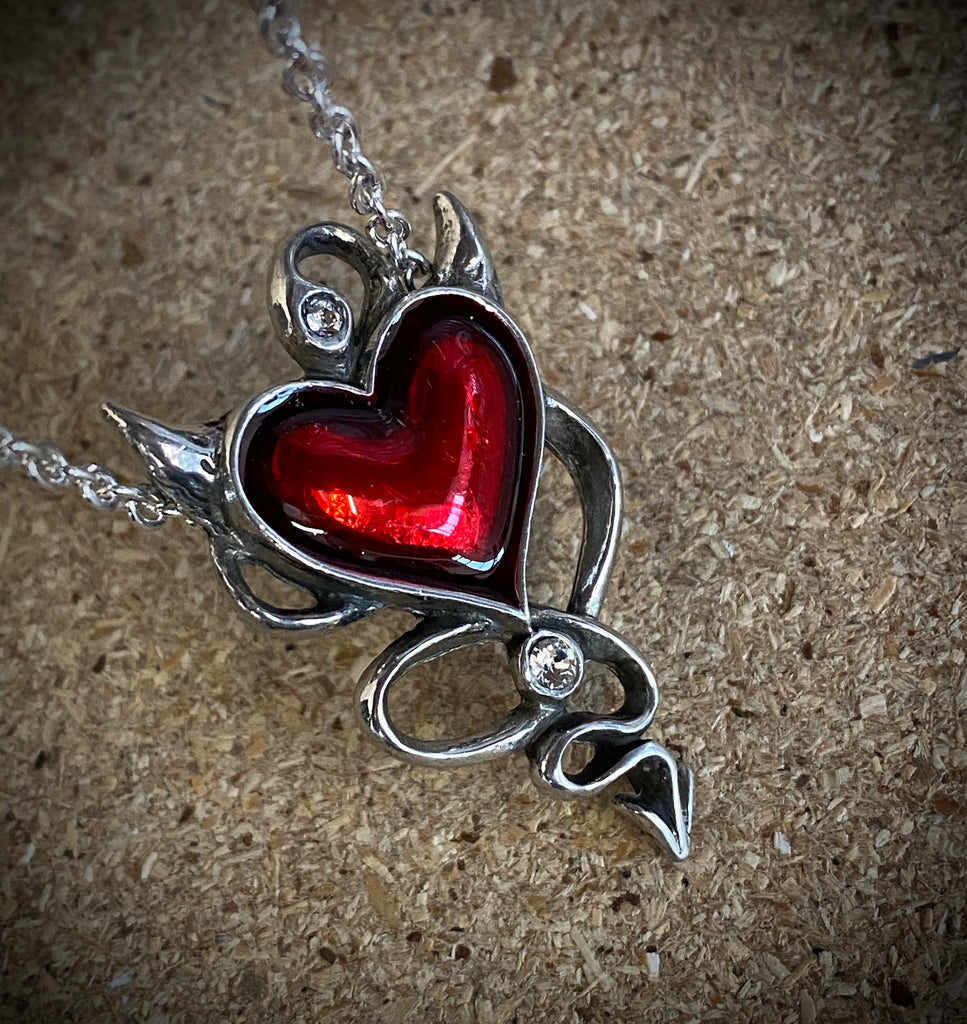 Alchemy Gothic Devil Heart Necklace