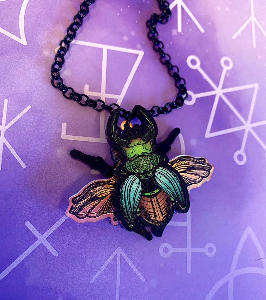 Layered Beetle Necklace -Mini