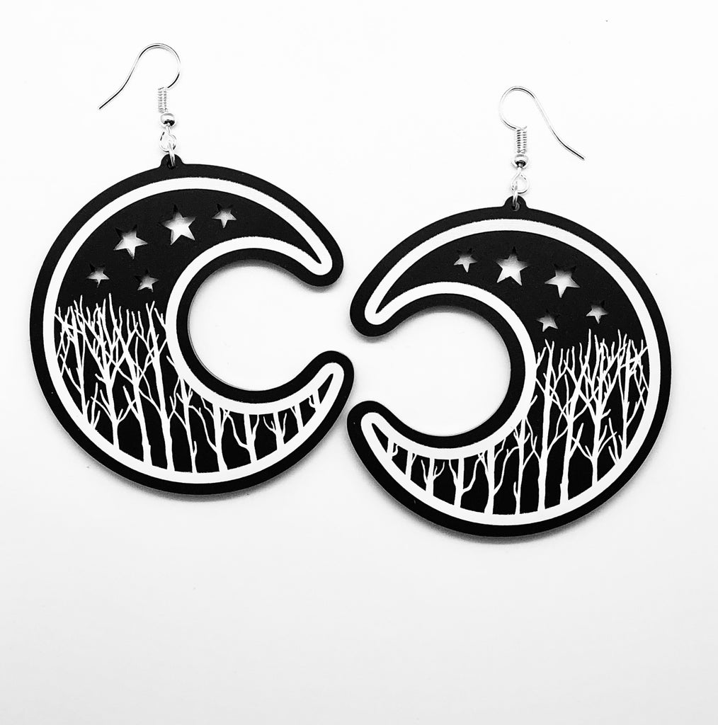 XL Winter Moon Earrings