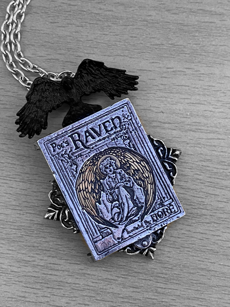 Alchemy Gothic Poe's Raven Locket Necklace