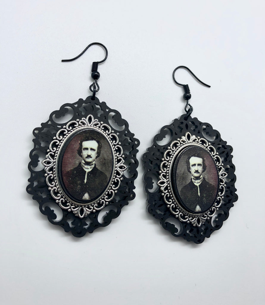 Edgar Allan Poe Cameo Earrings
