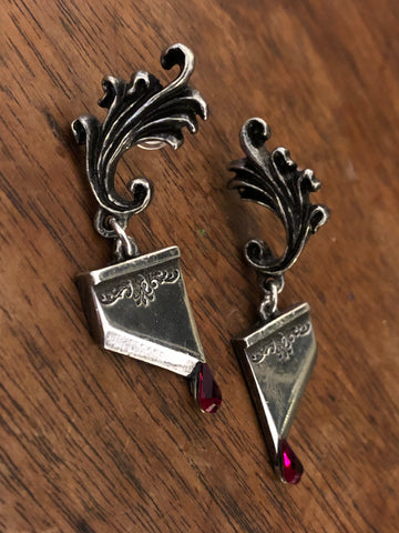 Cat and Crescent Moon Earrings - Sterling Silver