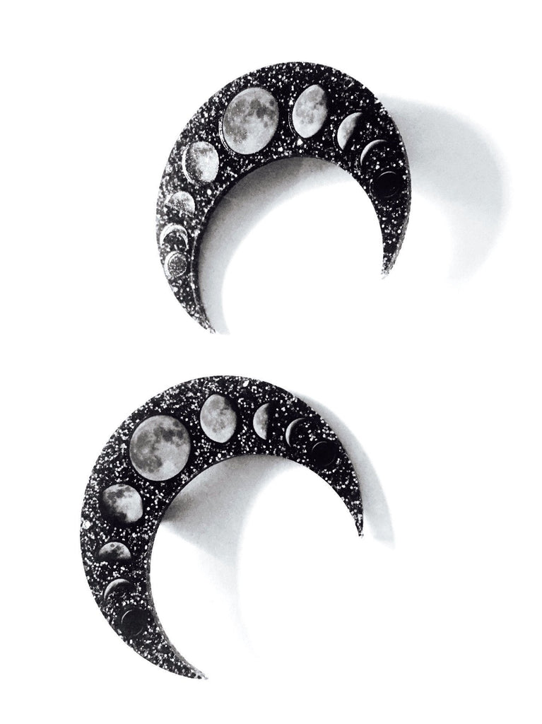 Lunar Phases Hair Clips - Real Moon Finish