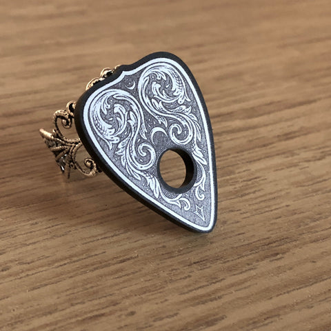 Rainbow Moonstone Planchette Ring - Sterling Silver