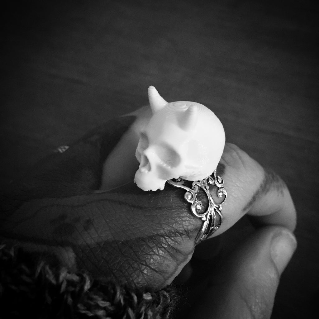 Little Demon Skull 3D Printed Ring