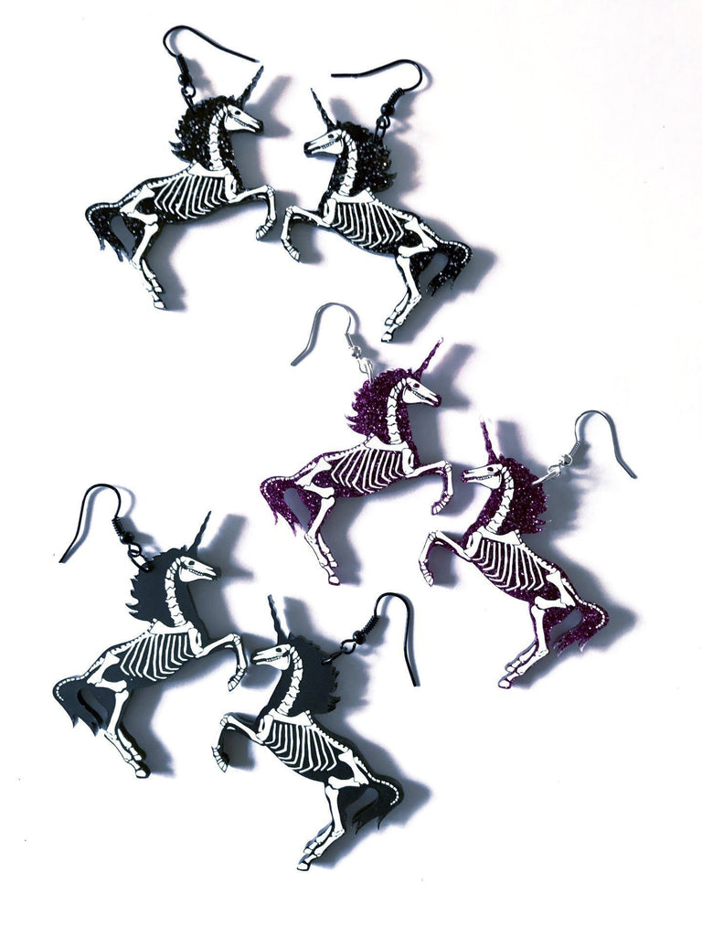 Skeletal Unicorn Earrings