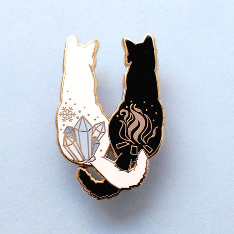 Black & White Snakes Enamel Pin
