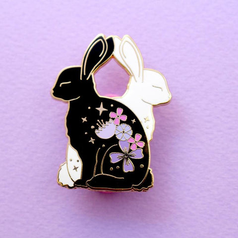Flower Cat Enamel Pin - Black or White