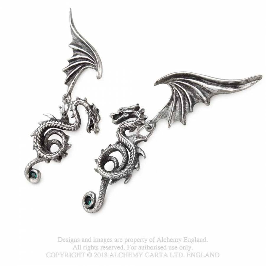 Alchemy Gothic Bestia Regalis Dragon Earrings