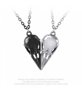Alchemy Gothic Coeur Crane Bird Skull Necklace Set