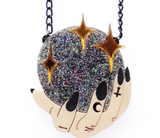 Cherryloco Crystal Ball & Witches Hand Necklace