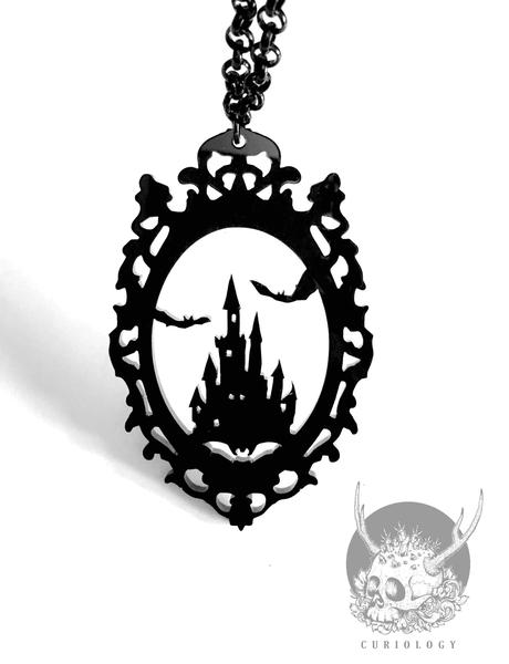 Dracula's Castle Cameo Necklace