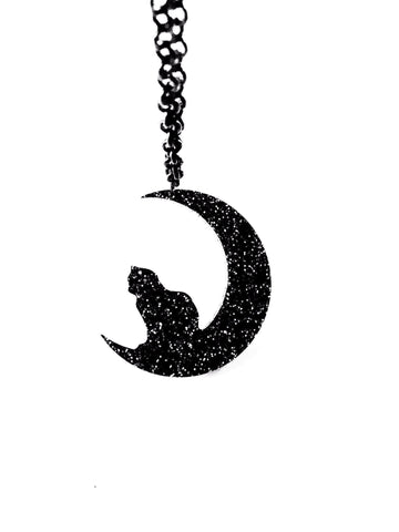 Bat and Moon Necklace - Sterling Silver