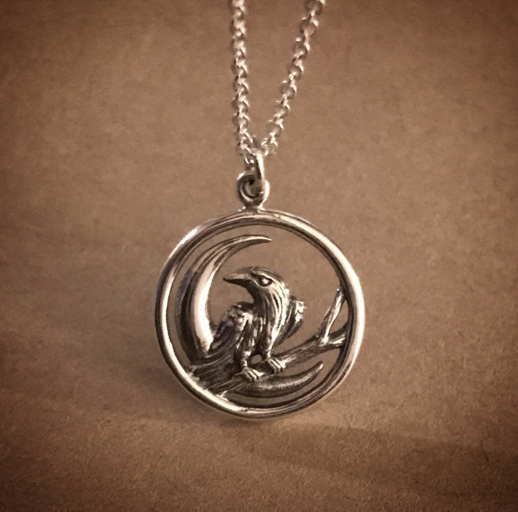 Raven and Moon Necklace - Sterling Silver