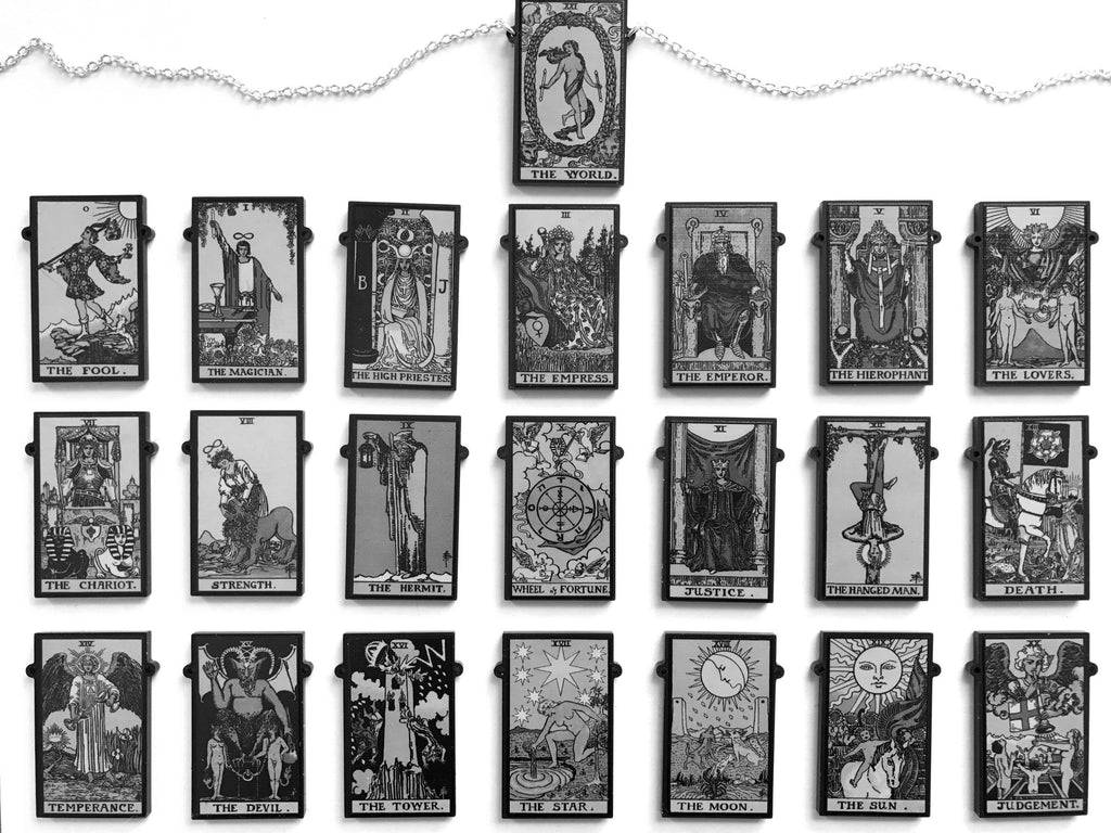 Single Tarot Card Necklaces, Full Major Arcana - Black and White or Colour