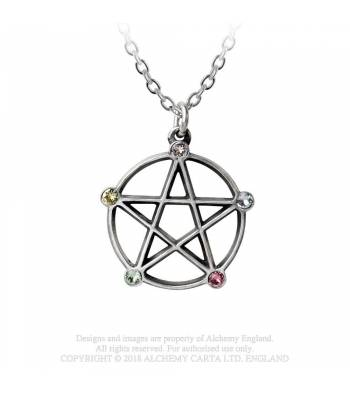 Alchemy Gothic Elemental Wiccan Pentacle Necklace