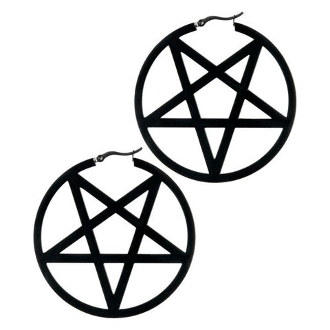 Demonic Inverted Pentacle Ear Hoops - Black Surgical Steel