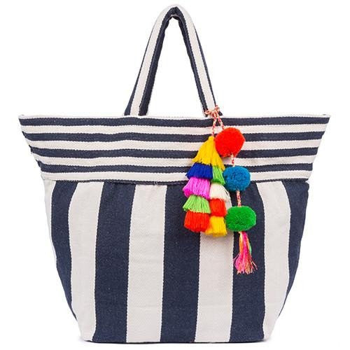 JADEtribe 'Valerie' Striped Beach Bag (Indigo)