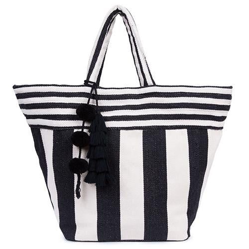 JADEtribe 'Valerie' Striped Beach Bag (Black)
