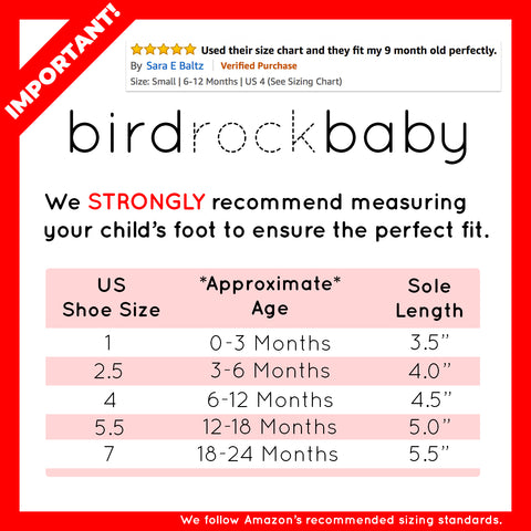 Baby Booties Size Chart