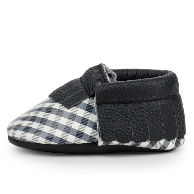 Black and White Gingham Baby Moccasins 1