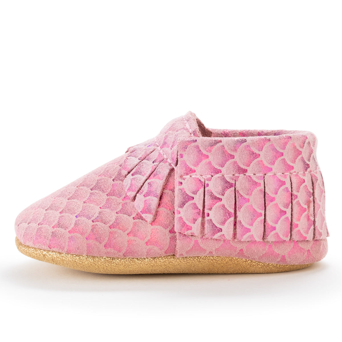 Pink Mermaid Baby Moccasins