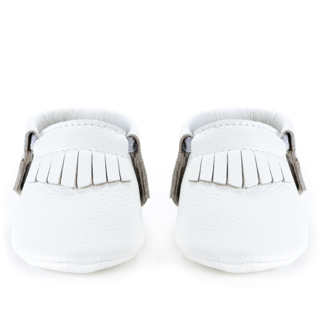 Pearl White Baby Moccasins 1