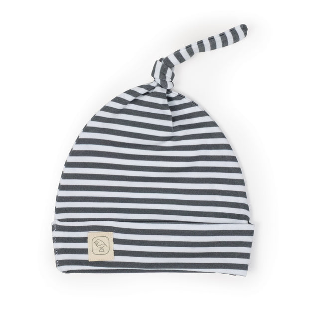 Slate Stripe Top Knot Hat 1