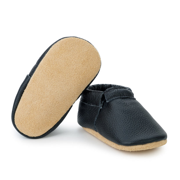 Black and Tan Fringeless Moccasins 1