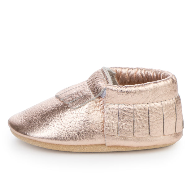 Rose Gold Baby Moccasins 1