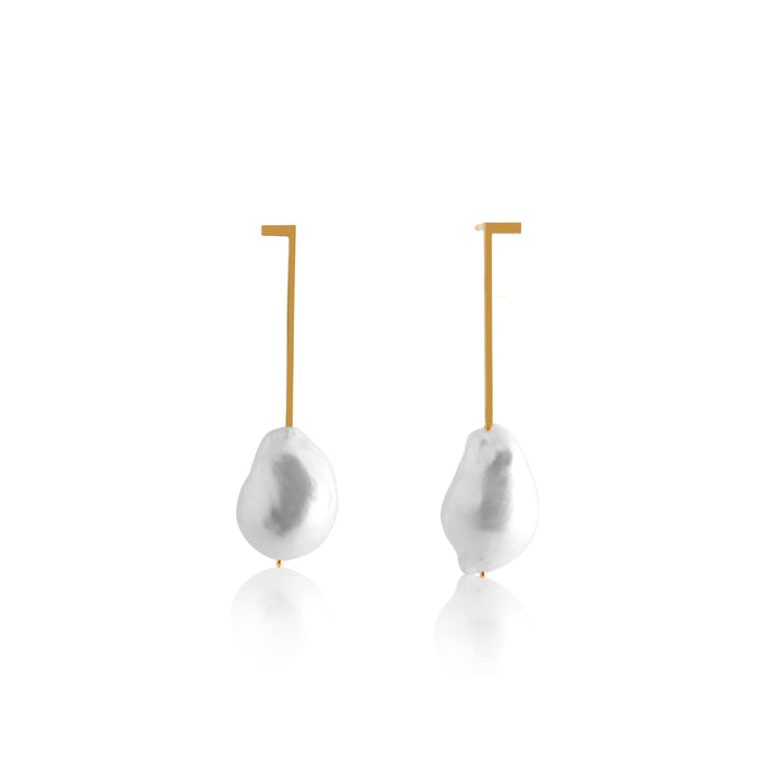 Unfinishing Line   gold extension line sterling silver earring Freshwater Pearl (UL19)