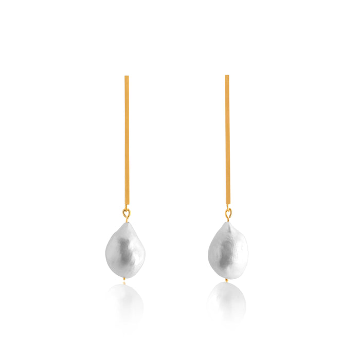 Unfinishing Line gold perspective line sterling silver earring Freshwater Pearl (UL19)