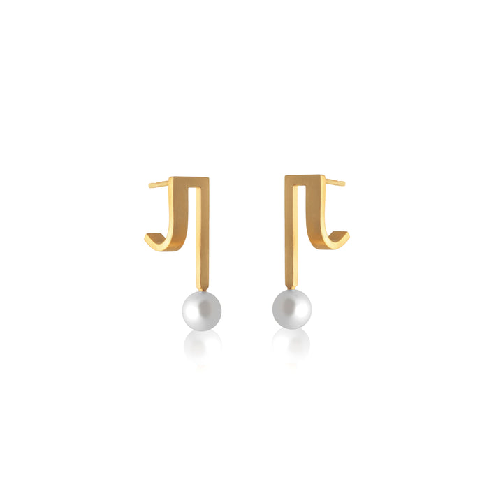 Unfinishing Line gold double curve square sterling silver single pearl earring  (UL19)
