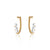 Unfinishing Line Gold hoop sterling silver earring triple pearls (UL19)