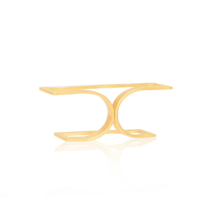 Unfinishing Line  gold double line sterling silver double ring  (UL)