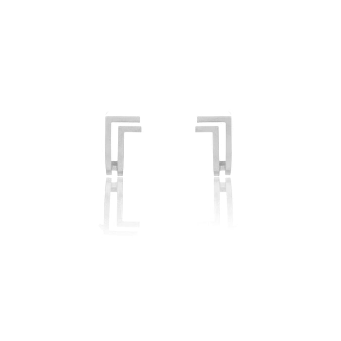 Unfinishing Line   double lines curve sterling silver earring  (UL19)