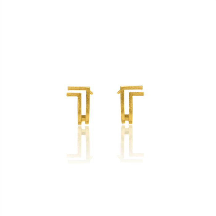 Unfinishing Line   gold double lines curve sterling silver earring  (UL19)
