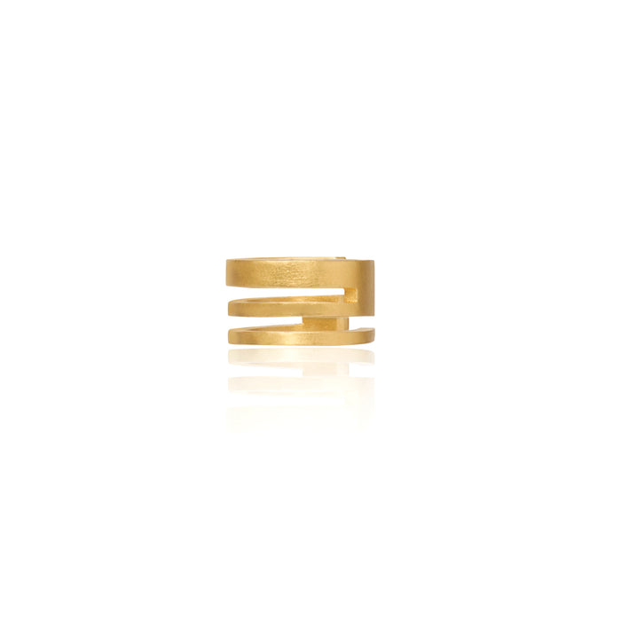 (A) Unfinishing Line triple line sterling silver gold plated ear cuff  (UL19)